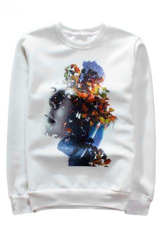 White Beauty Printed Crew Neck Pretty Ladies Sweatshirt