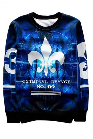 Blue Number 9 Printed Crew Neck Pretty Ladies Sweatshirt