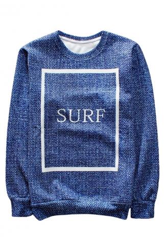 Blue Surf Printed Crew Neck Pretty Ladies Sweatshirt