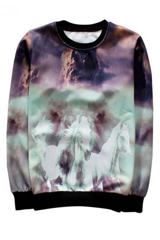 Purple Crew Neck Pretty Horse Printed Ladies Sweatshirt