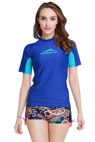 Sapphire Blue Ultraviolet-proof Color Blocking Chic Womens Diving Suit