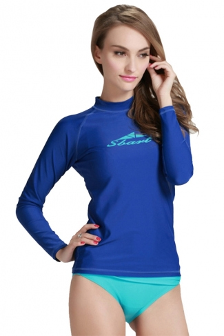 Sapphire Blue Ultraviolet-proof Long Sleeve Chic Womens Diving Suit