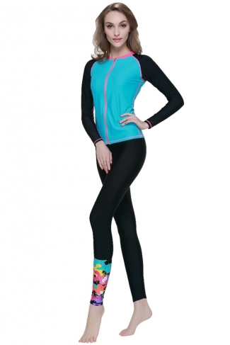 Blue Ultraviolet-proof Long Sleeve Fashion Womens Diving Suit