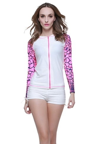 White Ultraviolet-proof Long Sleeve Fashion Womens Diving Suit