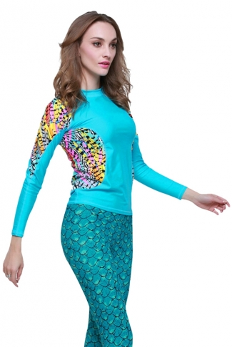 Blue Ultraviolet-proof Color Blocking Fashion Womens Diving Suit