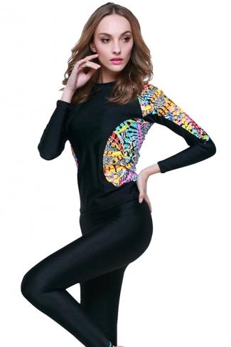 Black Ultraviolet-proof Color Blocking Fashion Womens Diving Suit