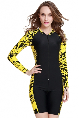 Yellow Ultraviolet-proof Color Blocking Womens Diving Jumpsuit