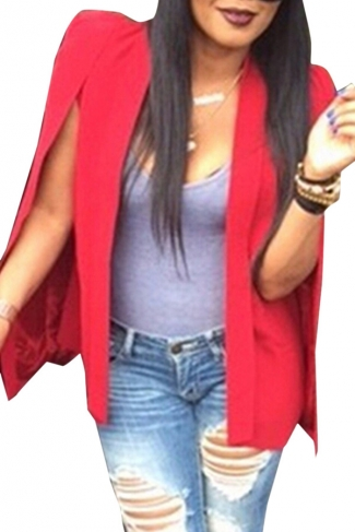 Womens Casual Cape Opened Sleeve Blazer Ruby