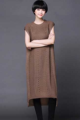 Womens Plain Sleeveless Pullover Knitted Sweater Dress Coffee