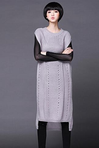 Womens Plain Sleeveless Pullover Knitted Sweater Dress Gray
