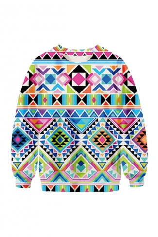 Womens Crew Neck Argyle Printed Pretty Pullover Sweatshirt Blue