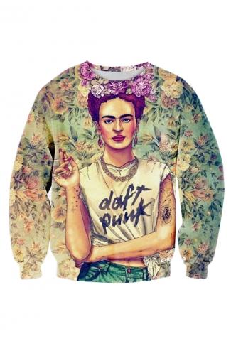Womens 3D Frida Kahlo Daft Punk T Shirt Sweatshirt Green
