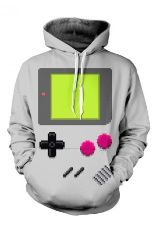Womens Gameboy 3D Printed Pullover Hoodie Gray