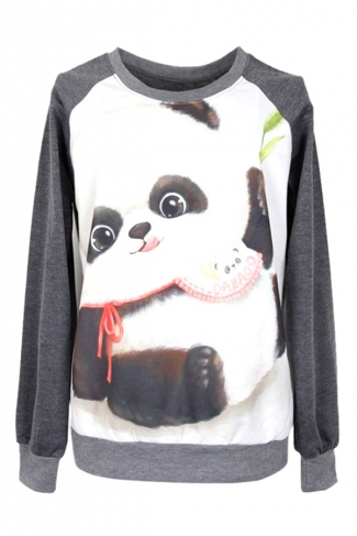 Womens Crewneck Cute Panda Printed Pullover Sweatshirt Dark Grey