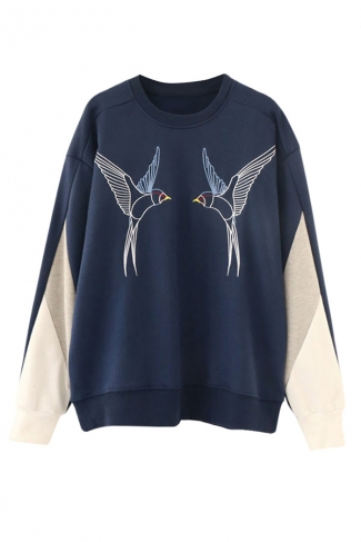 Womens Crewneck Birds Printed Patchwork Sweatshirt Navy Blue