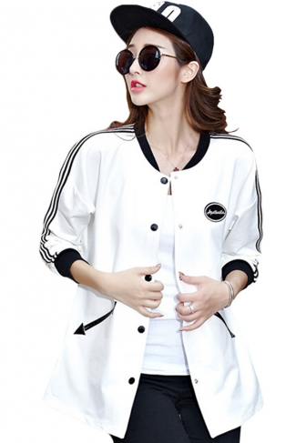 Womens Fashion Color Block Pockets Trench Coat White
