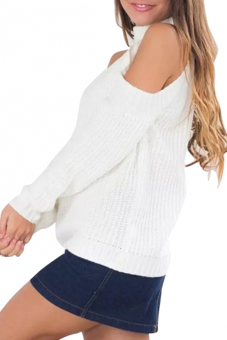 Womens Plain Mock Neck Off Shoulder Pullover Sweater White
