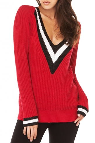 Girls Casual Plus Size V Neck Preppy Chic Knitted Sweater Red