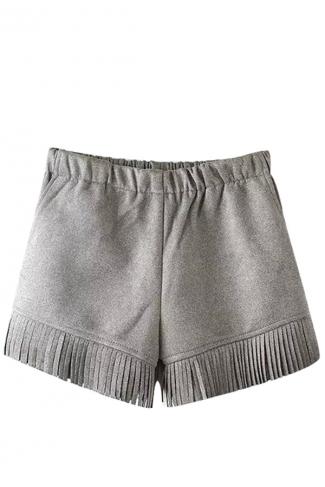 Womens Plain High Waist Fringe Patchwork Mini Short Gray