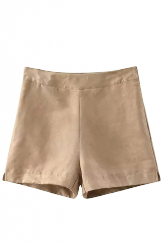 Womens Plain High Waist Side Zipper Mini Short Khaki
