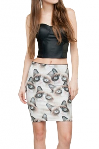 Womens Cats Printed Straight Bodycon Mini Skirt Beige