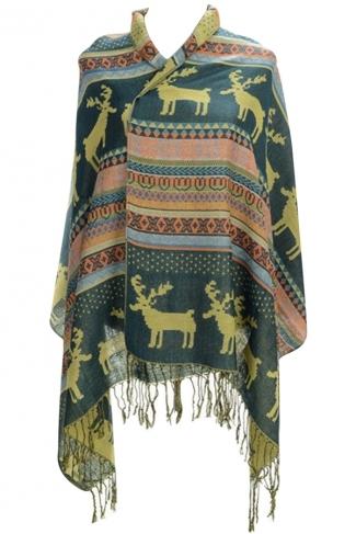 Womens Fringe Reindeer Pattern Christmas Shawl Wrap Scarf Green