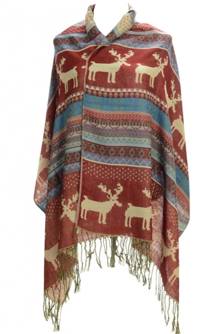 Womens Fringe Reindeer Pattern Christmas Shawl Wrap Scarf Red