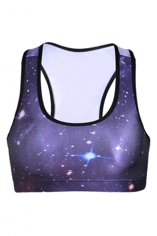 Womens Starry Sky Printed Sports Bra Purple
