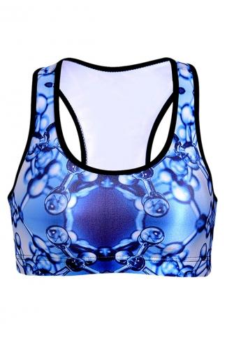 Womens Molecule Printed Wireless Sports Bra Blue