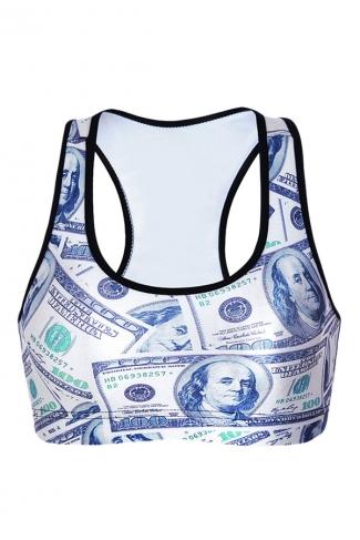 Womens Money Printed Wireless Sports Bra White