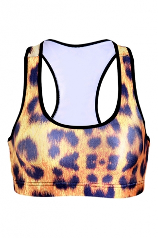Womens Leopard Printed Wireless Sports Bra Yellow