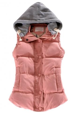 Ladies Single-breasted Chic Slimming Hoodie Vest Pink