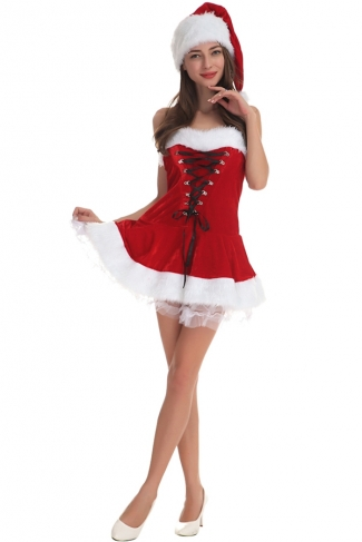 Womens Sexy Lace Up Off the Shoulder Santa Christmas Dress Red