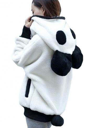 Womens Cute Hooded Long Sleeve Panda Sweatshirt White