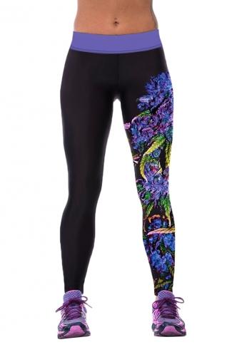 Womens Tight Flower Printed Sport Leggings Black