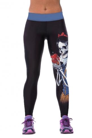 Womens Tight Skeleton Printed Sport Leggings Black