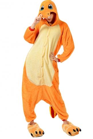Womens Hooded Charmander Pajamas Onesies Animal Costume Orange