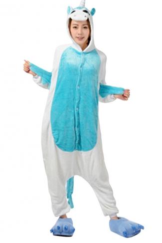 Womens Hooded Unicorn Pajamas Onesies Animal Costume Blue