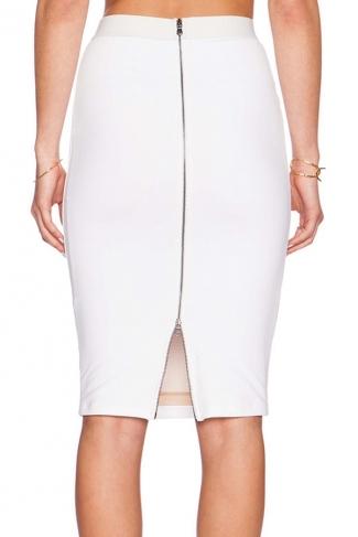 Womens Elegant High Waist Back Zipper Bodycon Pencil Skirt White