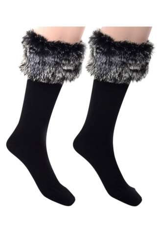 Womens Pretty Fuzzy Socks Dark Gray