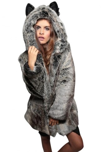 Womens Chic Fluffy Faux Fur Hooded Coat Gray