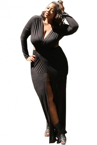 Womens Sexy Cut Out V Neck Floor-length Side Split Long Dress Black