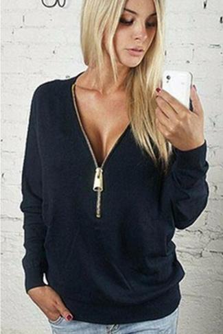 Womens Plain Sexy Deep V-Neck Batwing Long Sleeve Sweatshirt Black