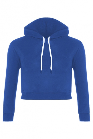 Womens Sexy Active Drawstring Long Sleeve Cropped Hoodie Blue