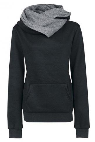 Womens Funnel Neck Color Block Kangaroo Pocket Pullover Hoodie Black