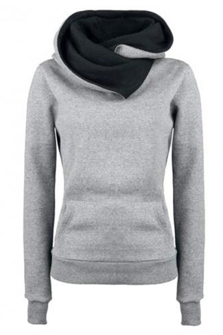 Womens Funnel Neck Color Block Kangaroo Pocket Pullover Hoodie Gray
