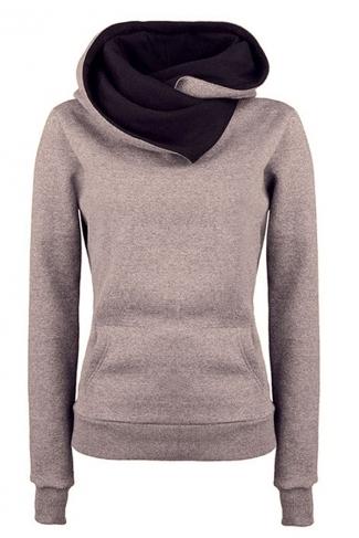 Womens Funnel Neck Color Block Kangaroo Pocket Pullover Hoodie Khaki