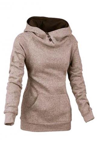 Womens Plain High Collar Button Kangaroo Pocket Pullover Hoodie Khaki
