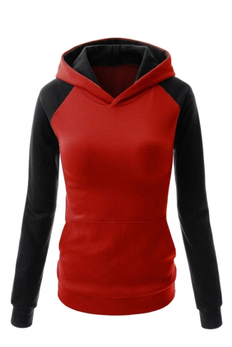 Womens Stylish Color Block Raglan Long Sleeve Pullover Hoodie Red