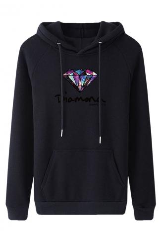 Womens Diamond Printed Long Sleeve Lined Leisure Pullover Hoodie Black